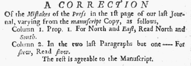 newspaper corrections, New-England Weekly Journal newspaper article 16 March 1730