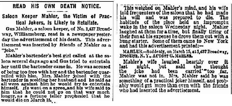 obituary for Gus Mahler, New York Herald newspaper article 17 March 1893