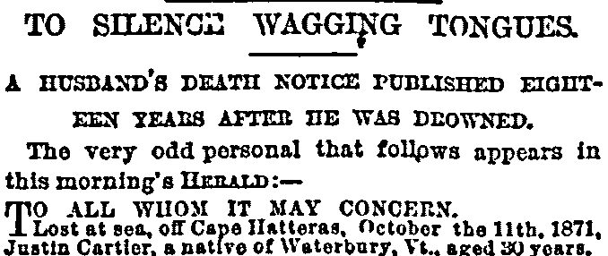 obituary for Justin Cartier, New York Herald newspaper article 20 May 1889