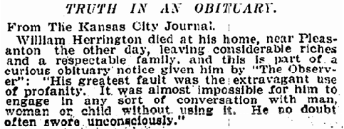 obittuary for William Herrington, New York Tribune newspaper article 12 December 1898