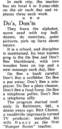 """article about the children's TV program """"Romper Room,"""" Omaha World Herald newspaper article 3 April 1966"""