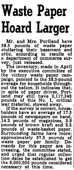 Waste Paper Hoard Larger, Oregonian newspaper article 2 June 1944