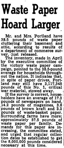 Waste Paper Hoard Larger, Oregonian newspaper article 2 June 1944