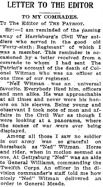 letter to the editor written by James H. Baum, Patriot newspaper article 6 June 1912