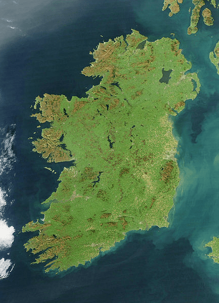 photo of a satellite image of Ireland