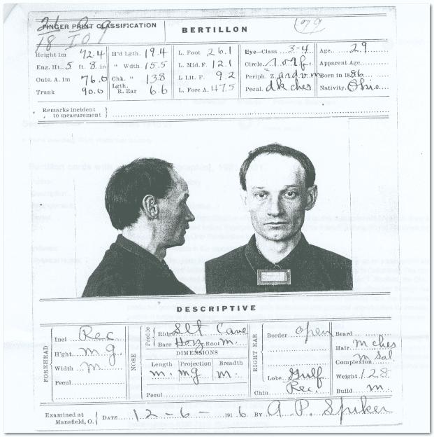 photo of the Bertillon card for Herman Vicha, 1916