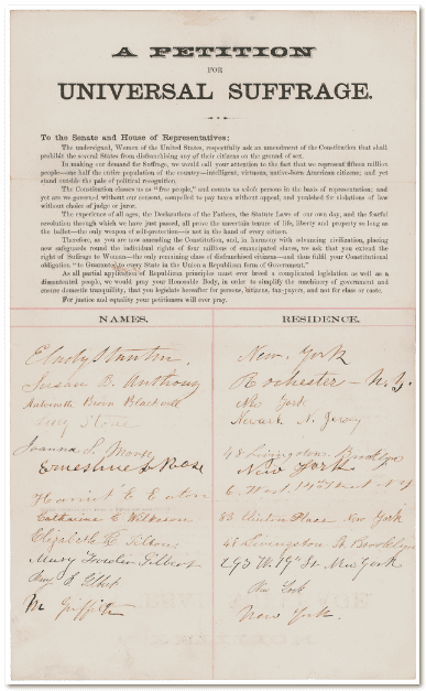photo of a petition from E. Cady Stanton, Susan B. Anthony, Lucy Stone, and others asking for an amendment to the U.S. Constitution guaranteeing universal suffrage, ca. 1865