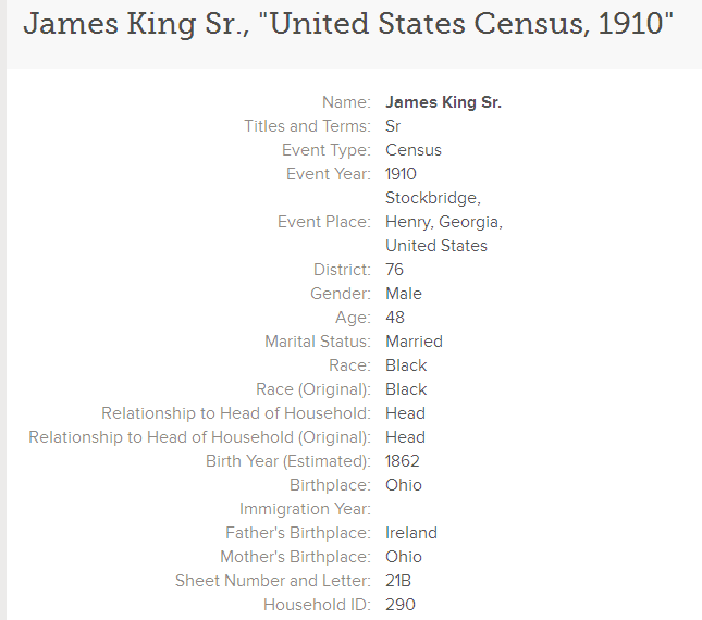 photo of the 1910 U.S. Census record for James King, Sr.