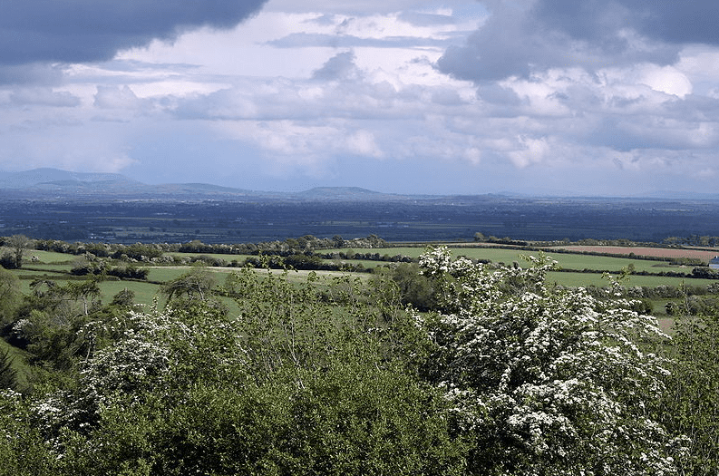 photo of the South Kildare plains, looking east at the Wicklow Hills, Ireland