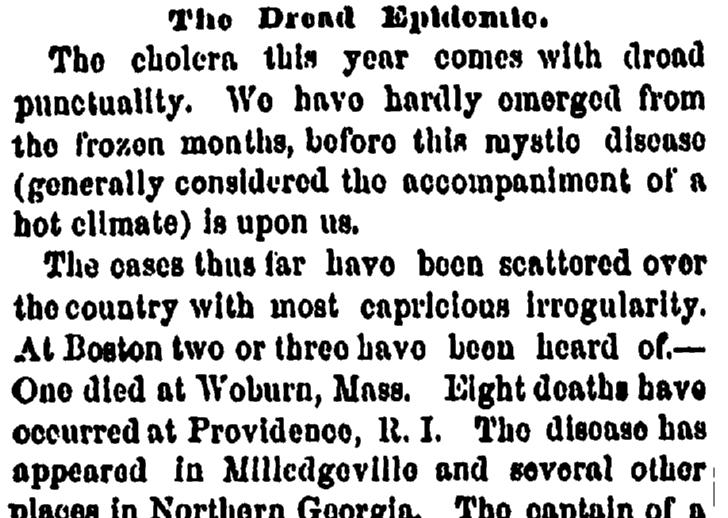 1854 Cholera Dread Epidemic Newspaper Article