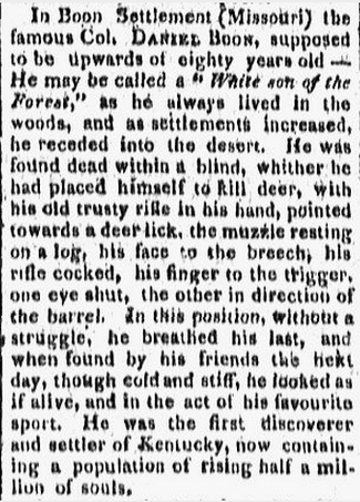 false report of the death of Daniel Boone, Providence Gazette newspaper article 19 September 1818