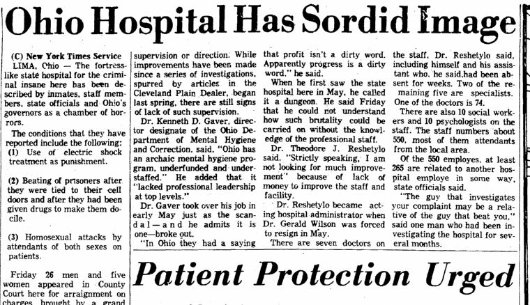 Ohio Hospital Has Sordid Image, Richmond Times Dispatch newspaper article 28 November 1971
