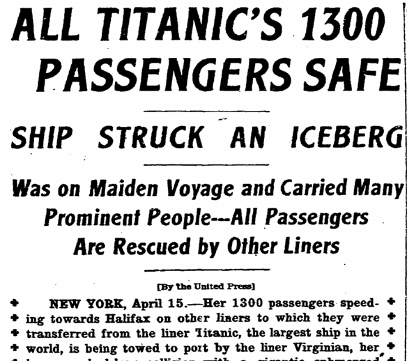 article about the sinking of the Titanic, Riverside Daily Press newspaper article 15 April 1912