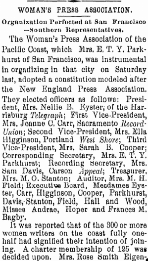 Woman's Press Association, San Diego Union newspaper article 9 October 1890
