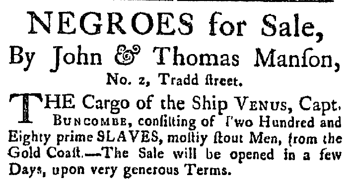 ad for a slave auction, South-Carolina Weekly Gazette newspaper advertisement 17 July 1784