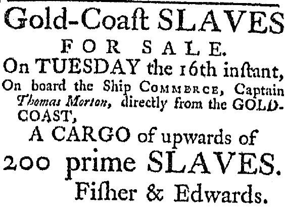 ad for a slave auction, South-Carolina Weekly Gazette newspaper advertisement 6 August 1785