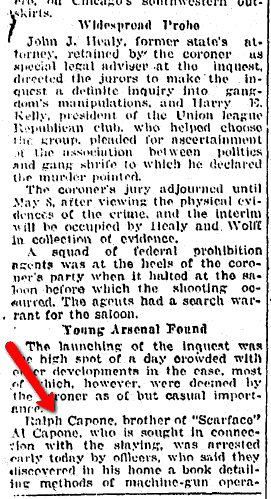 article about Ralph Capone, Springfield Republican newspaper article 30 April 1926