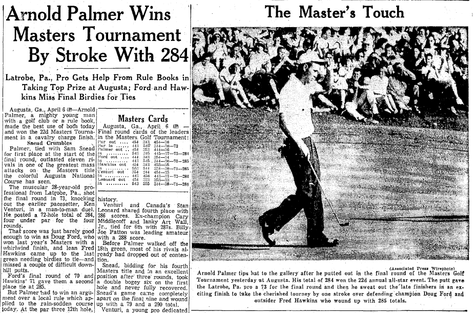 Arnold Palmer Wins Masters Tournament by Stroke with 284, Springfield Union newspaper article 7 April 1958