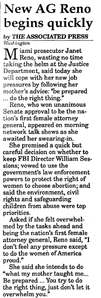 New AG (Janet) Reno Begins Quickly, St. Albans Daily Messenger newspaper article 12 March 1993