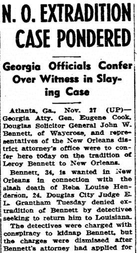 N. O. Extradition Case Pondered, State Times Advocate newspaper article 27 November 1946