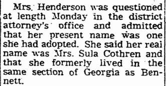 article about Flossie Sula Cothern, Times-Picayune newspaper article 19 November 1946