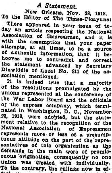 letter to the editor written by H. J. LaQuillon, Times-Picayune newspaper article 1 December 1918