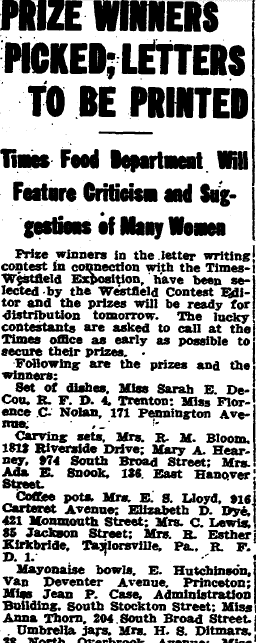 Prize Winners Picked; Letters to Be Printed, Trenton Evening Times newspaper article 2 February 1916