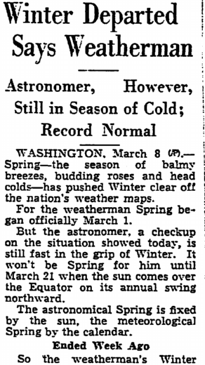 Winter Departed, Says Weatherman, Trenton Evening Times newspaper article 8 March 1937