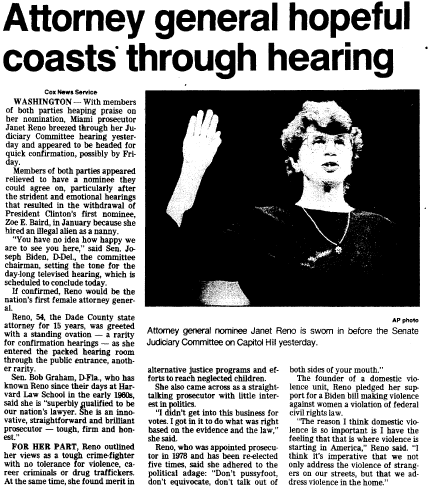 Attorney General Hopeful (Janet Reno) Coasts through Hearing, Trenton Evening Times newspaper article 10 March 1993