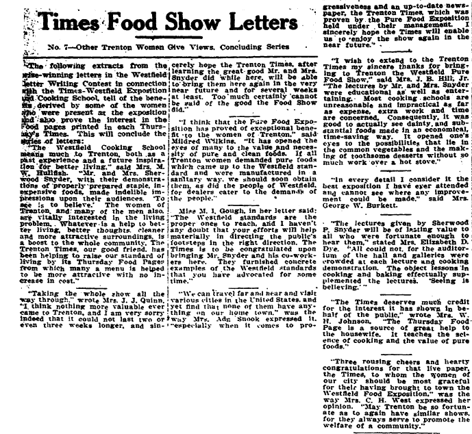 Times Food Show (Winning) Letters, Trenton Evening Times newspaper article 16 March 1916