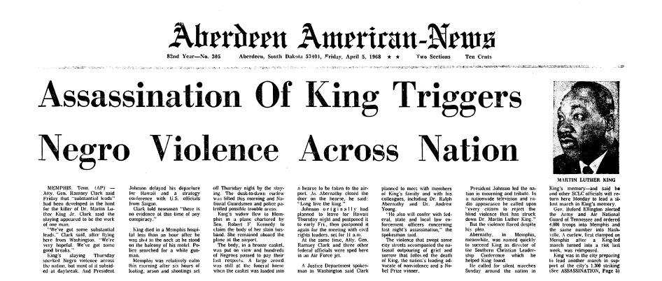 front-page news about the assassination of Dr. Martin Luther King Jr., Aberdeen American-News newspaper articles 5 April 1968