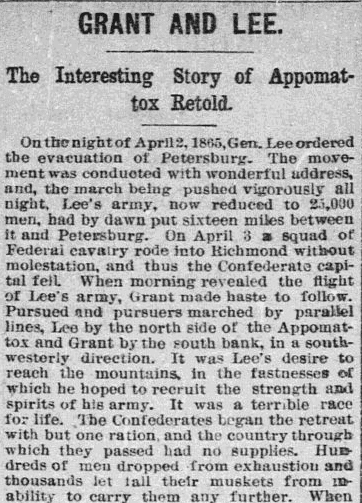 Grant and Lee--The Interesting Story of Appomattox Retold, Aberdeen Weekly News newspaper article 17 April 1885