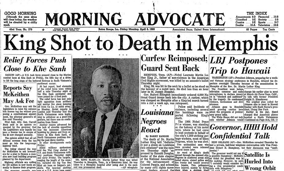 front-page news about the assassination of Dr. Martin Luther King Jr., Morning Advocate newspaper articles 5 April 1968