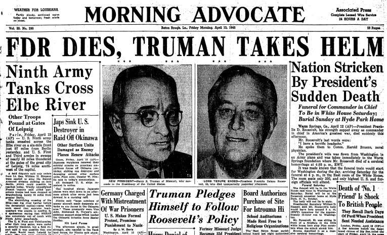 front page news about the death of President Franklin D. Roosevelt, Advocate newspaper articles 13 April 1945