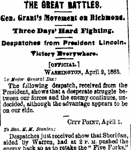 article about the Civil War's Battle of Five Forks, Albany Evening Journal newspaper article 3 April 1865