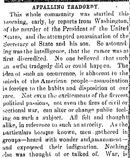 editorial about the assassination of President Abraham Lincoln, Alexandria Gazette newspaper article 15 April 1865