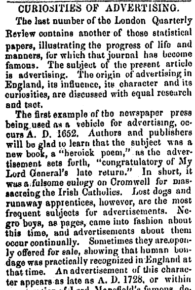 Curiosities of Advertising, Alexandria Gazette newspaper article 15 October 1855