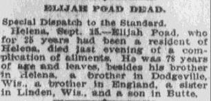 Elijah Poad Dead, Anaconda Standard newspaper obituary 16 September 1910