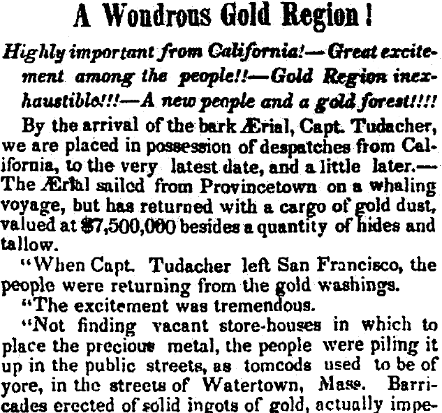 article about the California Gold Rush, Arkansas Weekly Gazette newspaper article 22 February 1849
