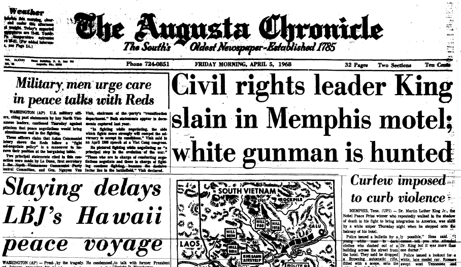 front-page news about the assassination of Dr. Martin Luther King Jr., Augusta Chronicle newspaper articles 5 April 1968