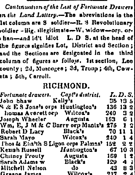 article about the Georgia land lottery, Augusta Chronicle newspaper article 18 April 1827