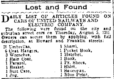 newspaper lost and found ad, Baltimore American newspaper advertisement 5 August 1911