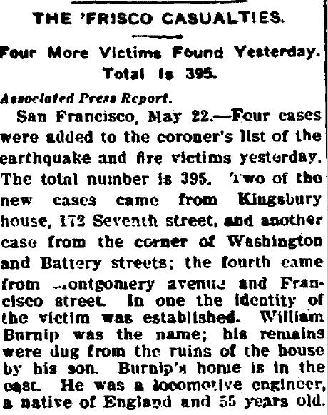 article about the casualties from the 1906 San Francisco earthquake, Beaumont Journal newspaper article 22 May 1906