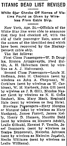 Titanic Dead List Revised, Belleville News Democrat newspaper article 24 April 1912