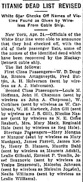 Titanic Dead List Revised, Belleville News Democrat newspaper article 24 April 1912