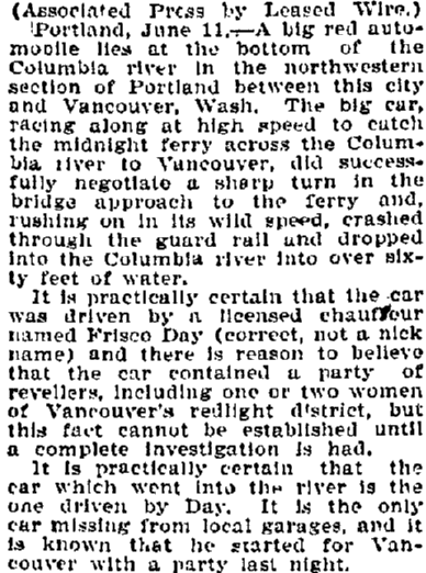 article about the fatal car accident of Frisco Day, Bellingham Herald newspaper article 12 June 1910