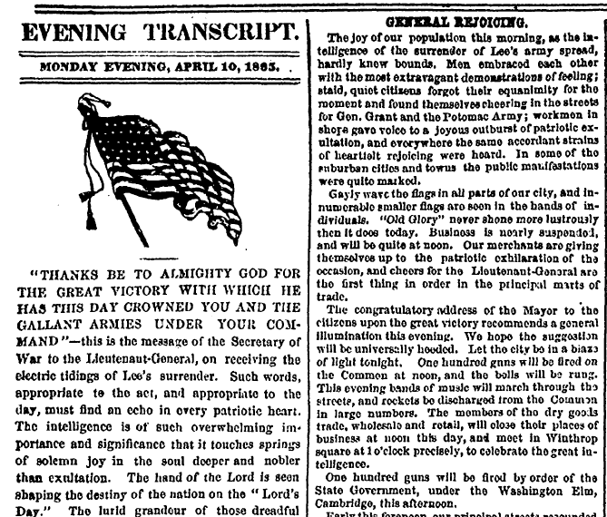 article about Civil War General Lee surrendering to General Grant, Boston Evening Transcript newspaper article 10 April 1865