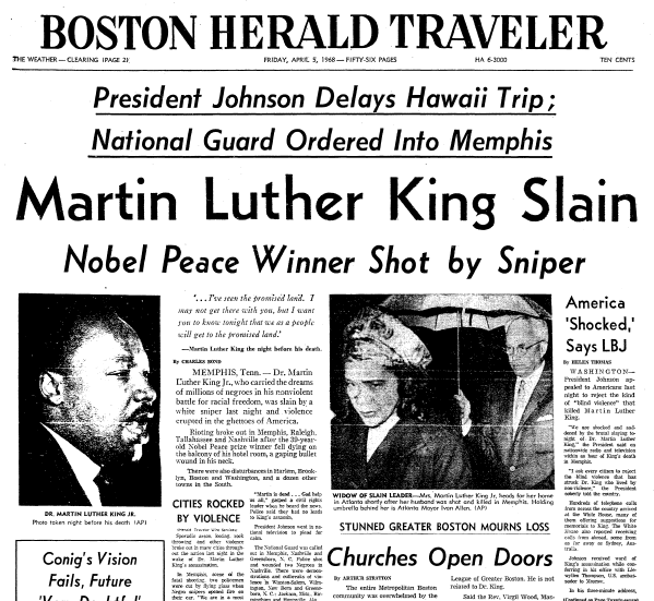 front-page news about the assassination of Dr. Martin Luther King Jr., Boston Herald Traveler newspaper articles 5 April 1968
