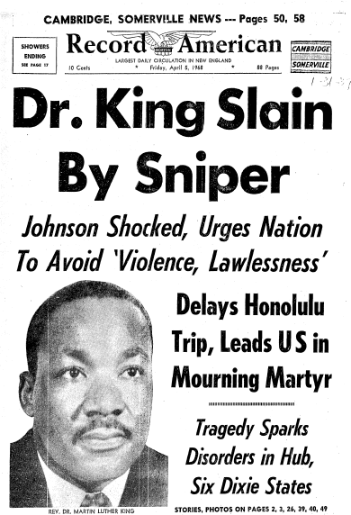 front-page news about the assassination of Dr. Martin Luther King Jr., Record American newspaper articles 5 April 1968