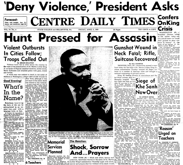 front-page news about the assassination of Dr. Martin Luther King Jr., Centre Daily Times newspaper articles 5 April 1968